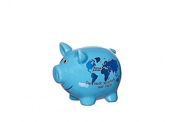 Sparschweine in verschiedenen Sorten Sparschwein blau Reisekasse