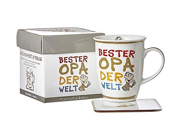 Kaffeebecher mit Untersetzer Beste/Bester... Kaffeebecher Bester Opa