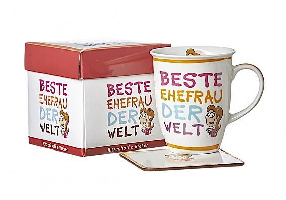 Kaffeebecher mit Untersetzer Beste/Bester... Kaffeebecher Beste Ehefrau