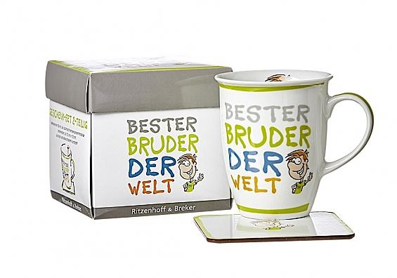 Kaffeebecher mit Untersetzer Beste/Bester... Kaffeebecher Bester Bruder