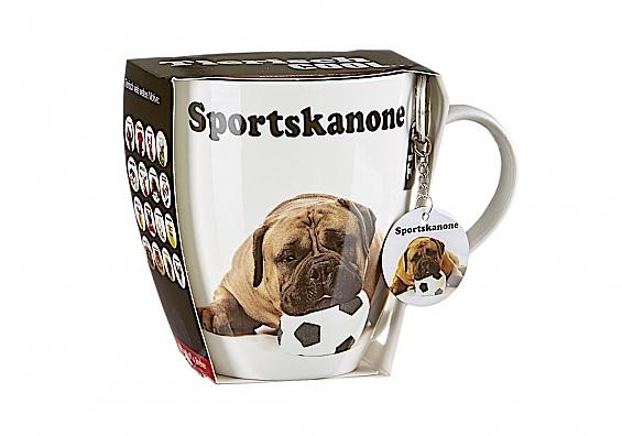 Geschenk-Set Jumbotasse mit Anhänger Tiere Jumbotasse mit Anhänger Sportskanone