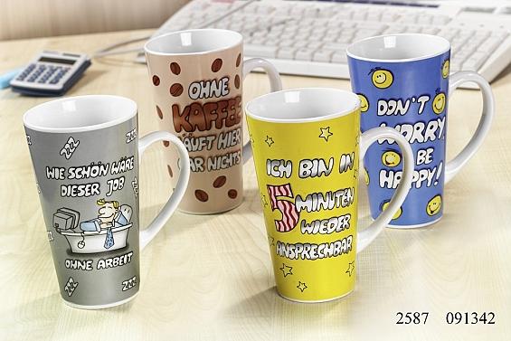 Kaffeebecher Bürosprüche 4 Kaffeebecher 480ml