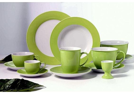 Geschirr-Serie Doppio grün Jumbotassen-Set 12tlg.