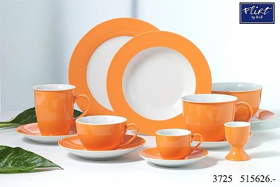 Geschirr-Serie Doppio orange Jumbotassen-Set 12tlg.