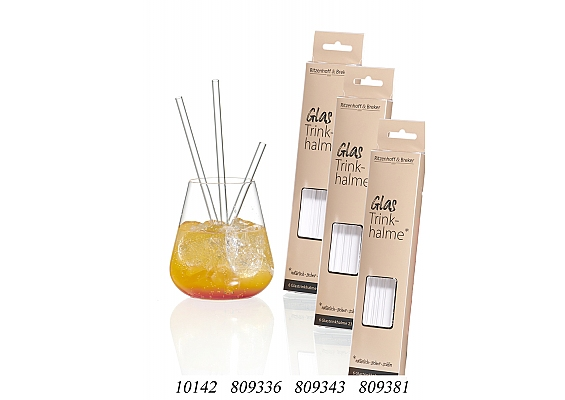 Umweltfreundliche Glastrinkhalme Emma 6er-Set Trinkhalme 23cm