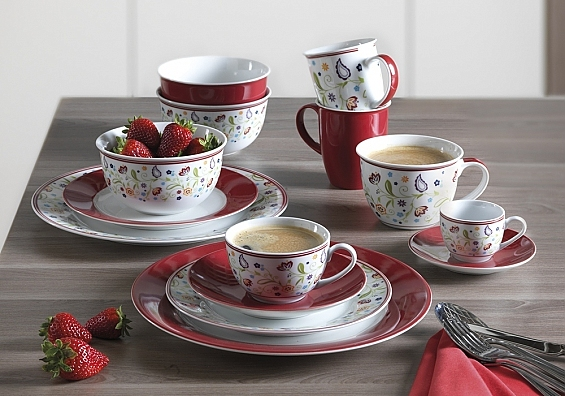 Geschirr-Serie Doppio Shanti rot Espresso-Set 12tlg.