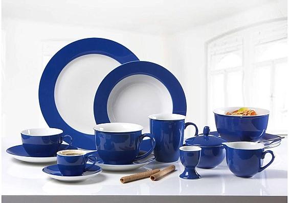 Geschirr-Serie Doppio indigo-blau