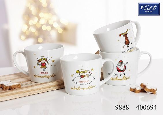 4er-Set Kaffeebecher Weihnachten